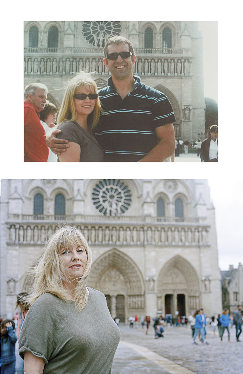 "BRENDA HALE, from Northern Ireland, is the widow of Captain Mark Hale, of 2nd Battalion the Rifles who was 42 when he was killed in an explosion whilst on patrol in Sangin on August 13th 2009. PHOTO CAPTION Before: ""Me and my man, Paris, 2008"" BH After: Same location 26/07/2015. To make a donation please go to www.soldierscharity.org"