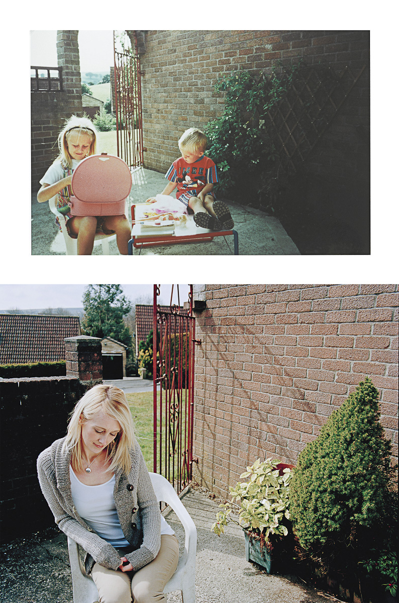 "EMMA BETTS, from Nottingham lost her brother, Private James Prosser, a warrior infantry vehicle driver serving in 2nd battalion the Royal Welsh, when he was killed as a result of an explosion in Helmand, Afghanistan on September 27th, 2009. He was 21. Before: ""Brotherly and sisterly fun playing Barbies"" Caerphilly, Wales, July 1992. After: Same location 07/04/2013. To make a donation please go to www.soldierscharity.org"